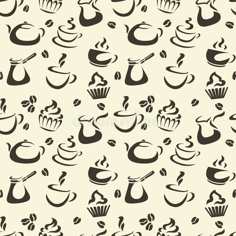 Kaffee-nahtloses Muster lizenzfreie abbildung