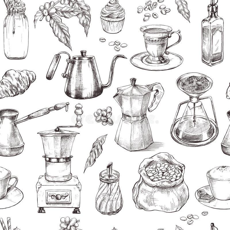 Kaffee, nahtloses Muster, Weinlesehand gezeichnet vektor abbildung