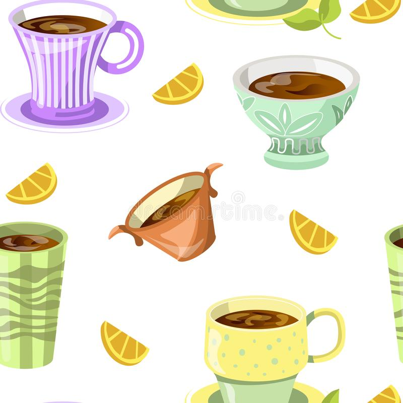 Kaffee oder Tee liefen herein nahtlosen Mustervektor der Schale aus vektor abbildung