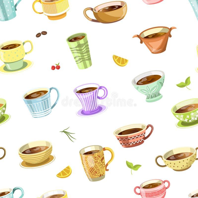 Kaffee oder Tee liefen herein nahtlosen Mustervektor der Schale aus stock abbildung