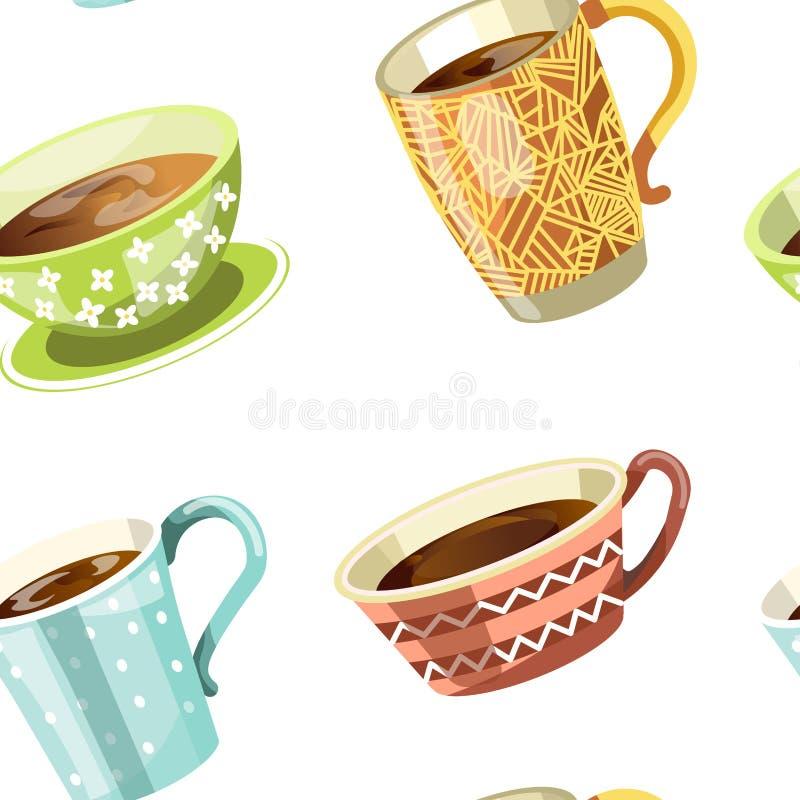 Kaffee oder Tee liefen herein nahtlosen Mustervektor der Schale aus lizenzfreie abbildung