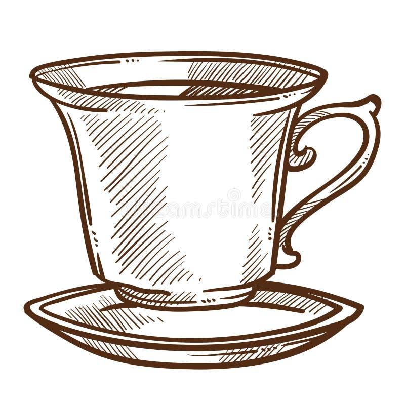 Kaffee- oder Teeschale auf Untertasse lokalisiertem heißem Getränk der Skizze vektor abbildung