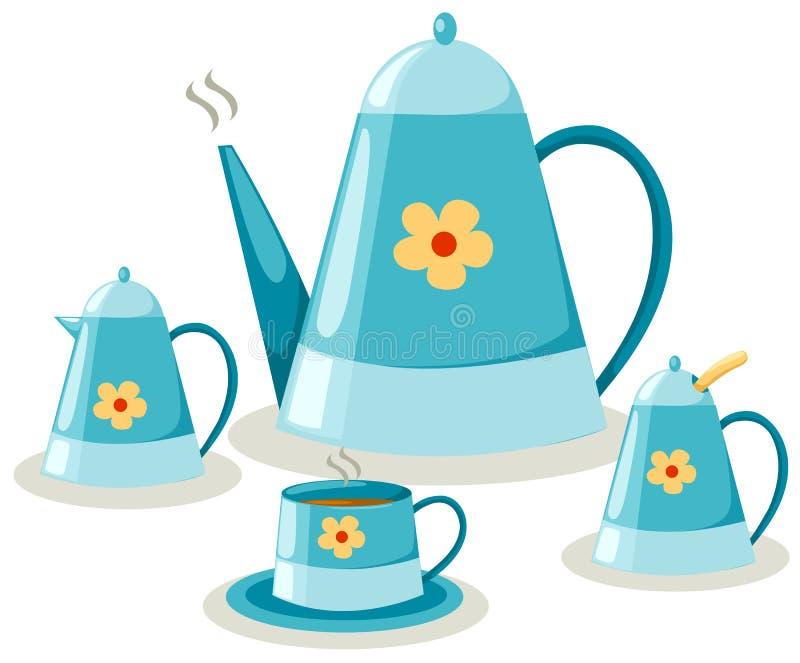 Kaffee- oder Teeset stock abbildung