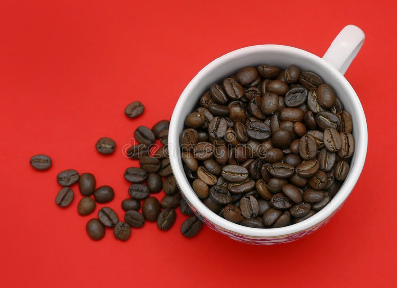 Kaffee-Rot-Hintergrund stockfotos