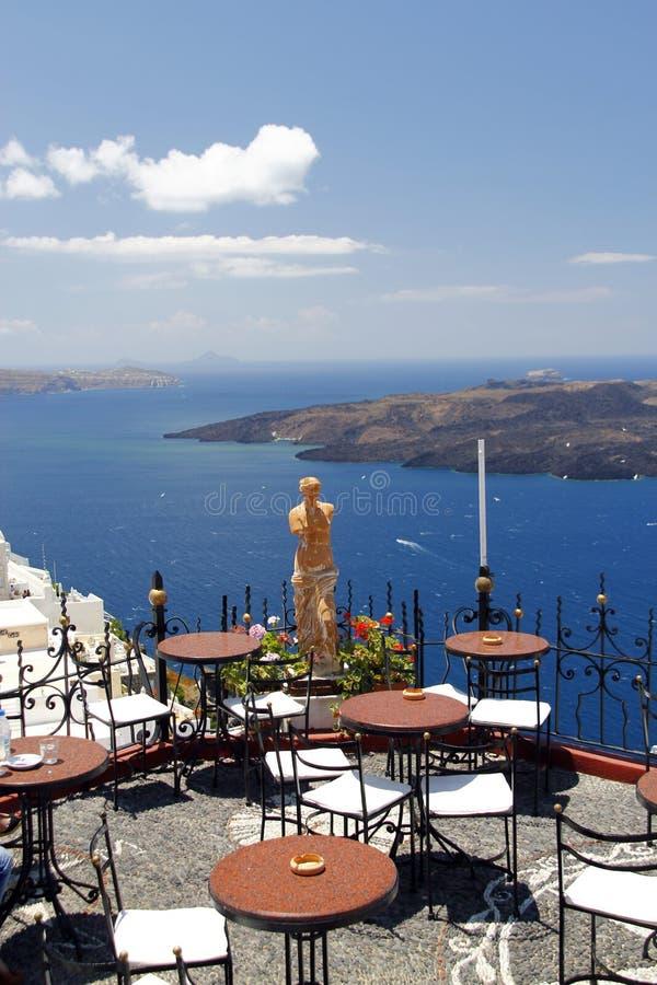 Kaffee in Santorini, Griechenland stockfoto