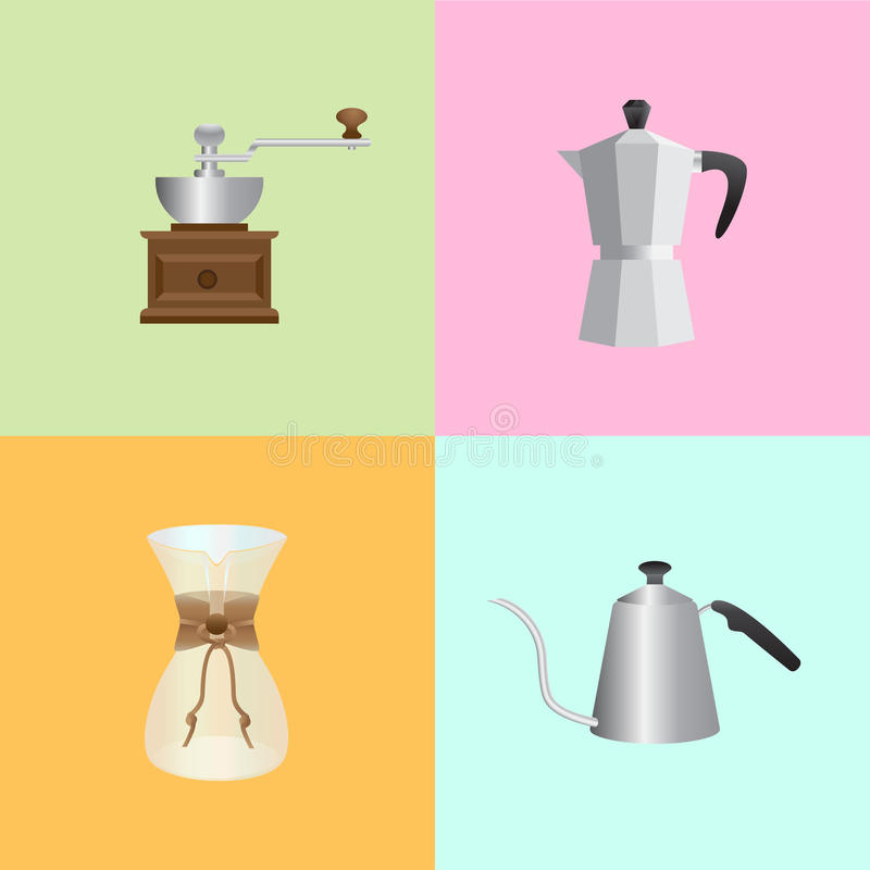 Kaffee-Satzelemente lizenzfreie stockfotos