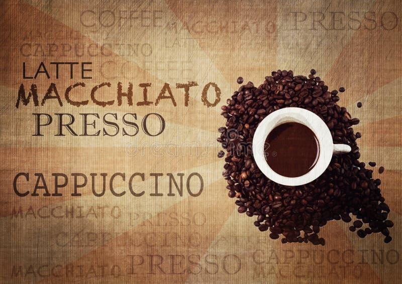 Kaffee-Schmutz-Weinlese-Hintergrund lizenzfreie abbildung