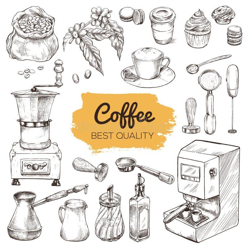 Kaffee Set Hand gezeichnete Elemente stock abbildung