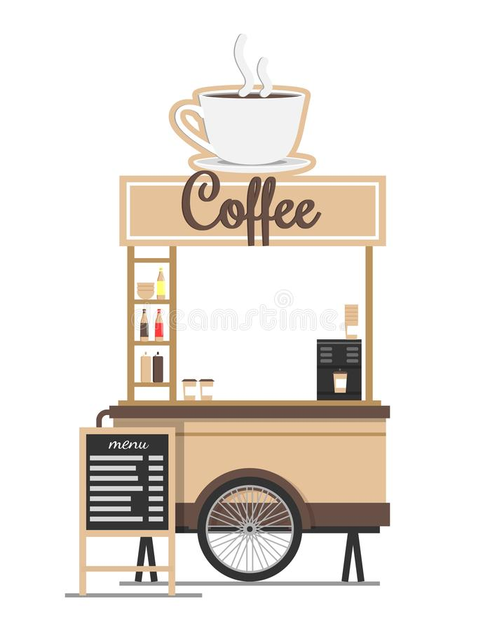 Kaffee-Stand mit Brett-Menü-Vektor Ilustration stock abbildung
