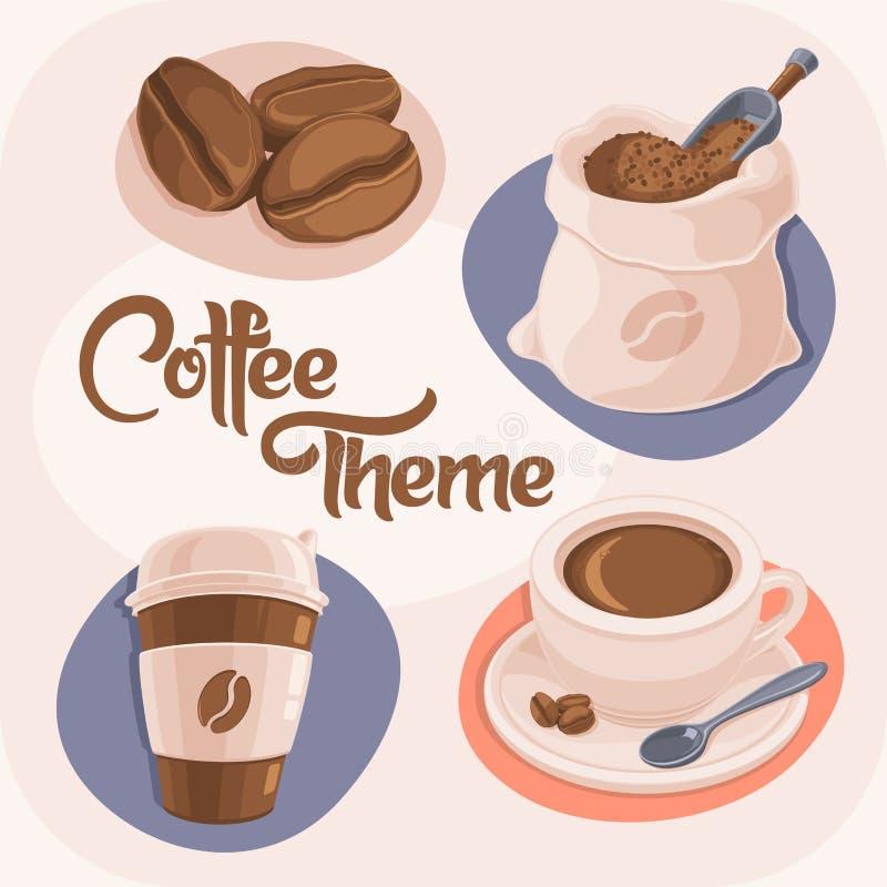 Kaffee-Thema-Ikonen eingestellt vektor abbildung