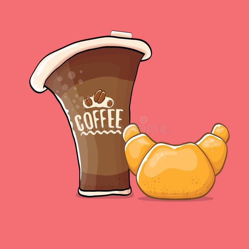 Kaffee und Hörnchen lokalisiert auf rosa Hintergrund VektorKaffeetasse mit Kuchenkarikaturart Illustration des gutenmorgens stock abbildung
