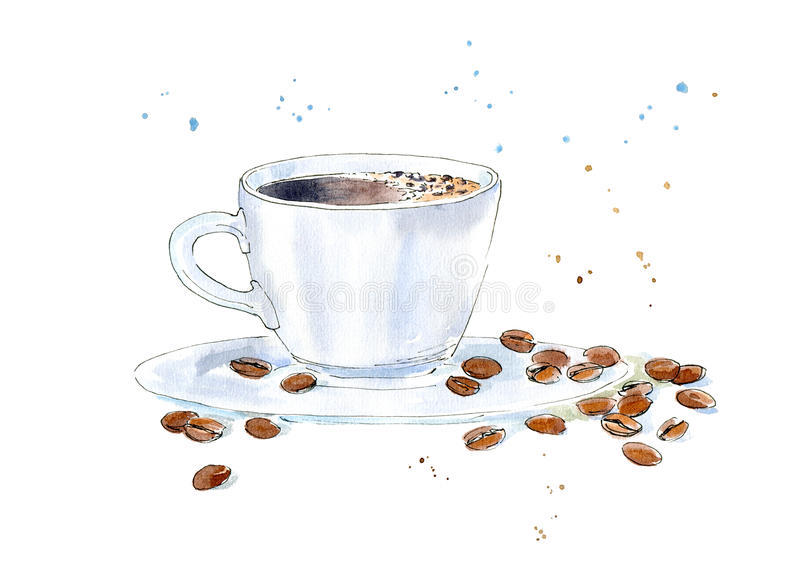 Kaffee und Korn Getränkmalerei lizenzfreie abbildung