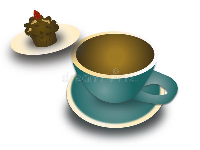 Kaffee- und Kuchenillustration lizenzfreies stockfoto