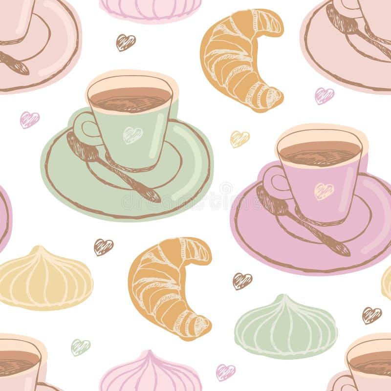 Kaffee und Nachtisch stock abbildung