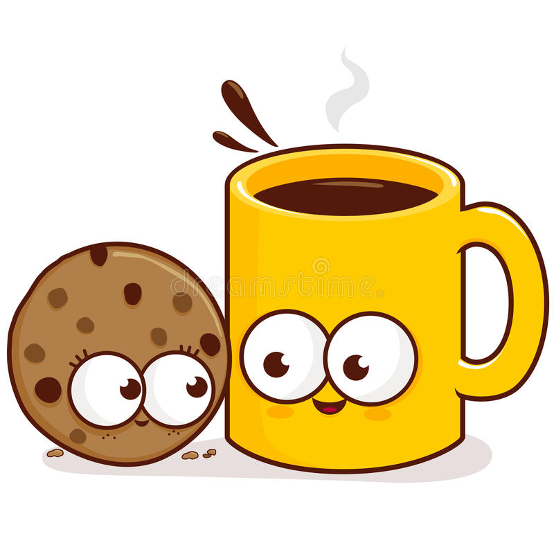 Kaffee- und Plätzchencharaktere vektor abbildung