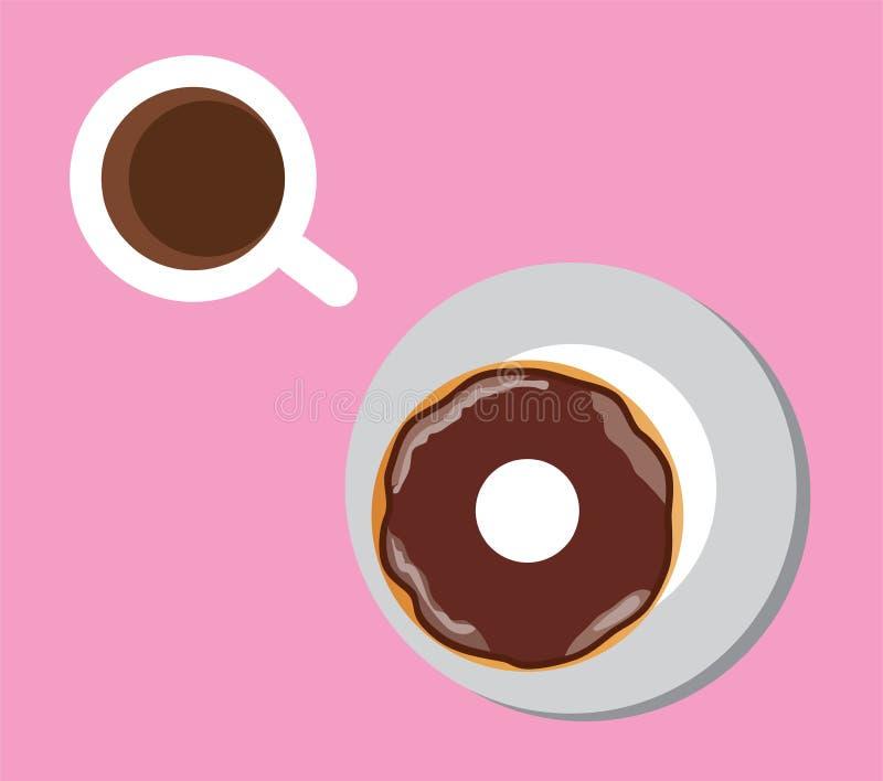 Kaffee und Schaumgummiringe vektor abbildung