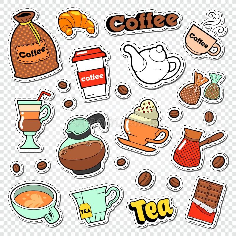 Kaffee-und Tee-Gekritzel Heiße Getränke mit süßen Lebensmittel-Aufklebern, Flecken und Ausweisen vektor abbildung