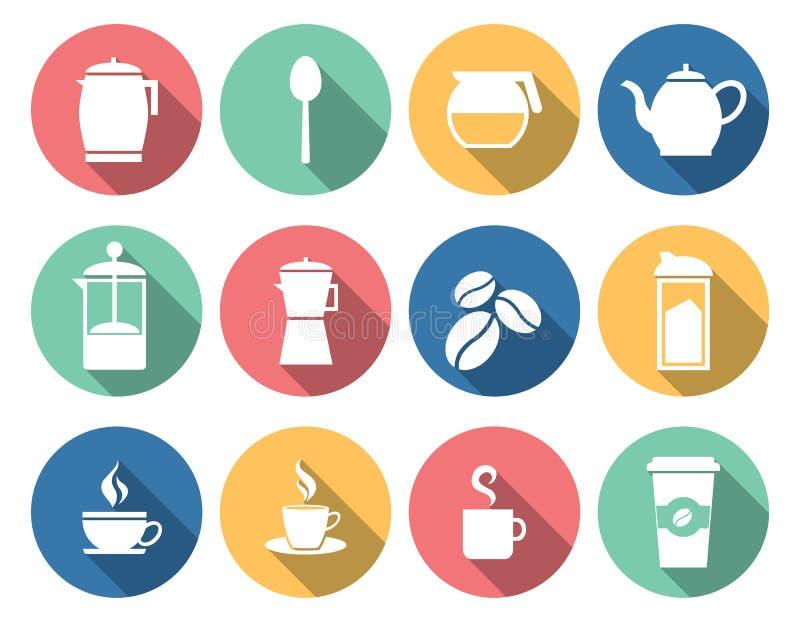Kaffee-und Tee Ikonen stock abbildung