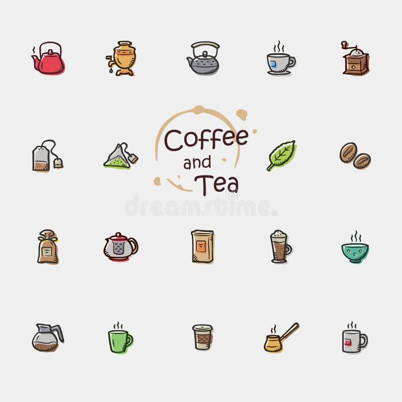 Kaffee-und Tee Ikonen vektor abbildung