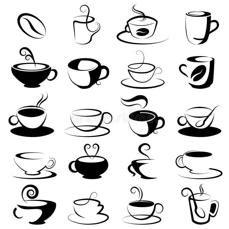 Kaffee- und Teeauslegungelemente stock abbildung