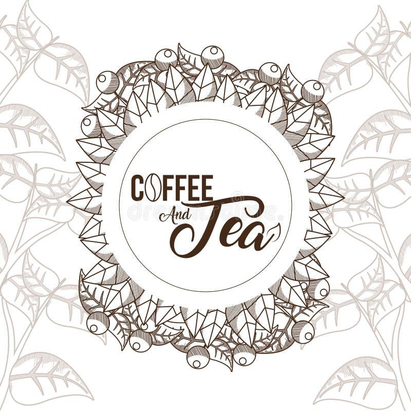 Kaffee- und Teekonzept lizenzfreie abbildung