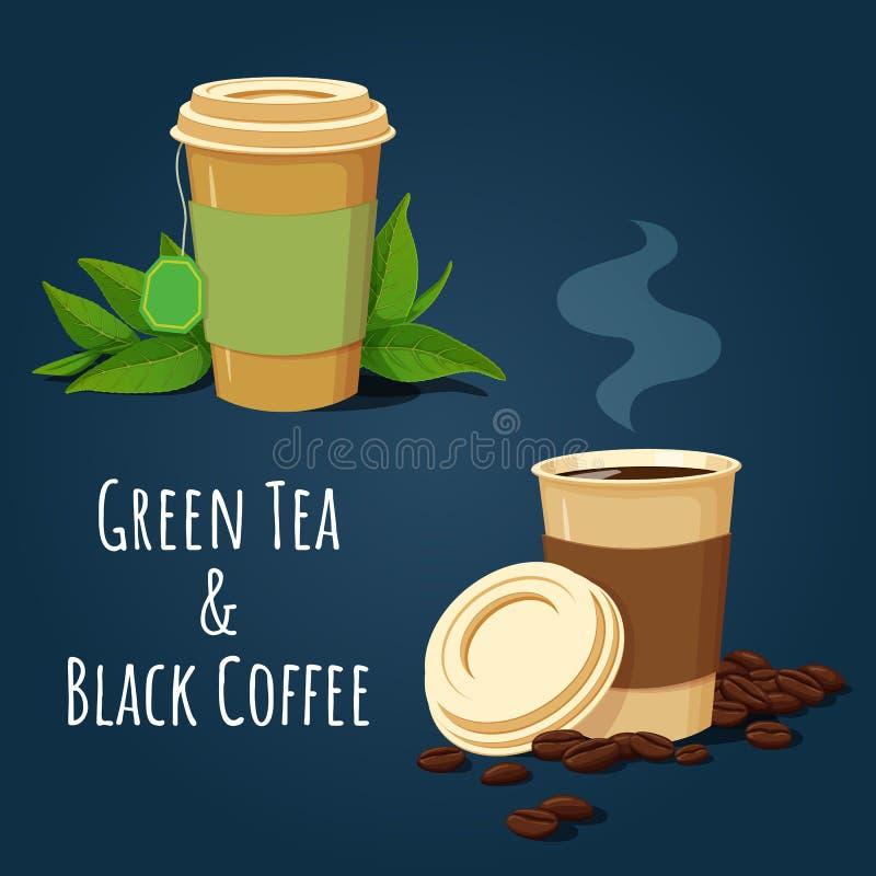 Kaffee- und Teepapierschalen mit Teeblättern und Kaffeebohnen lizenzfreie abbildung