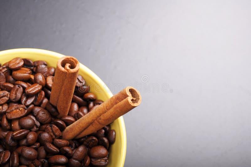 Kaffee und Zimt lizenzfreie stockbilder