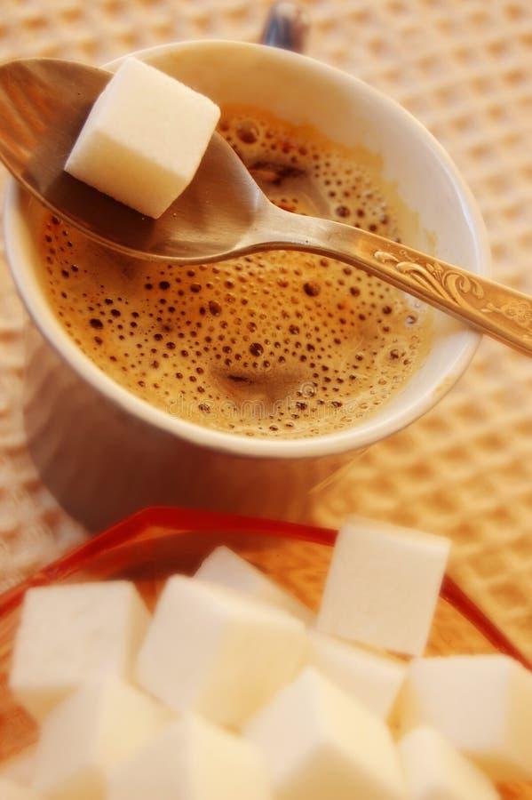 Kaffee und Zucker lizenzfreies stockfoto