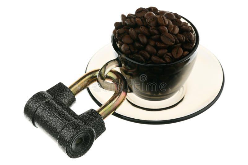 Kaffee unter Verriegelung stockbilder