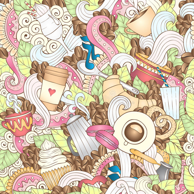 Kaffee-von Hand gezeichnete Vektor-Illustration lizenzfreie abbildung