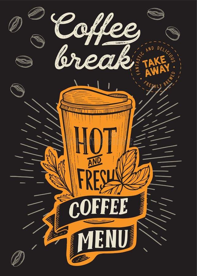 Kaffee zum Mitnehmen-Handgezogene Illustration f?r Restaurant lizenzfreie abbildung