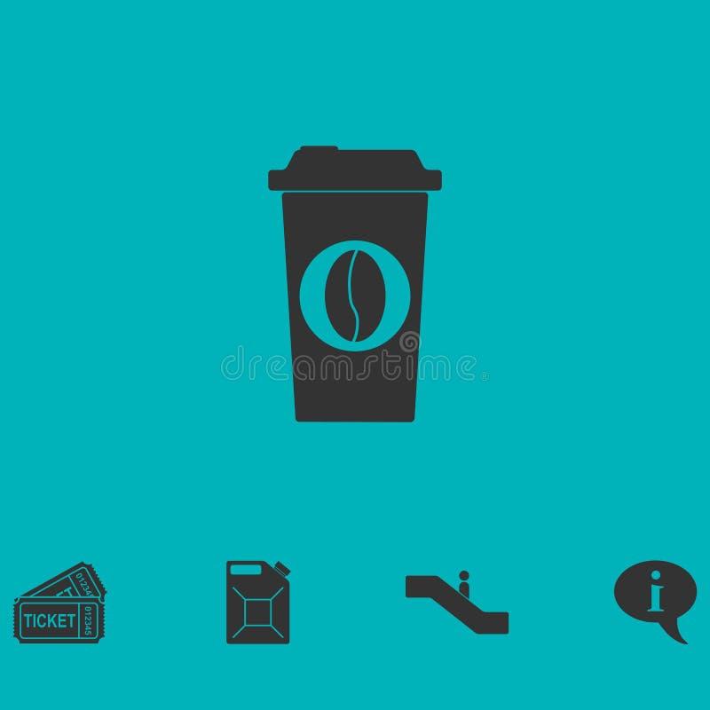 Kaffee zum Mitnehmen-Ikonenebene vektor abbildung