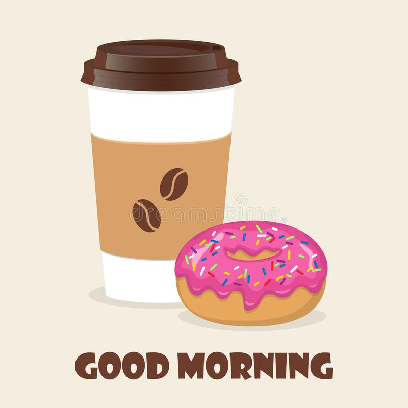 Kaffee zum Mitnehmen und Donut Vektorillustration für Rabattbeleg, Flieger, Cafémenü, Plakat annoncierend lizenzfreie abbildung