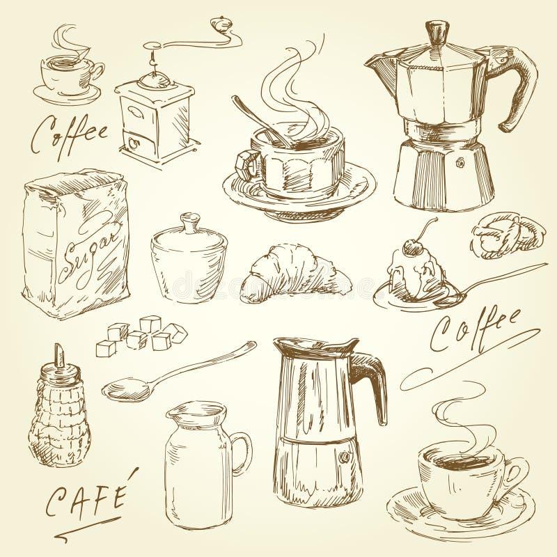 Kaffeeansammlung lizenzfreie abbildung