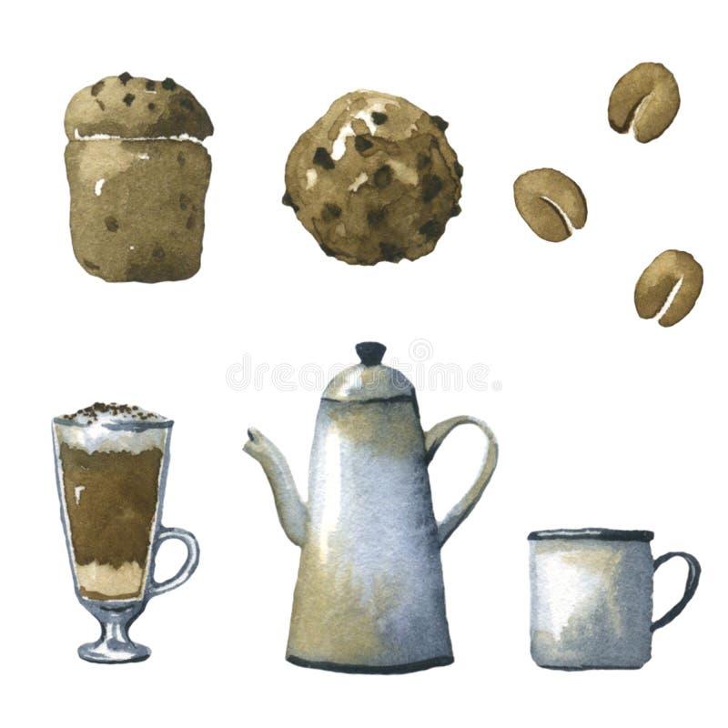 Kaffeeaquarellillustrationen vektor abbildung
