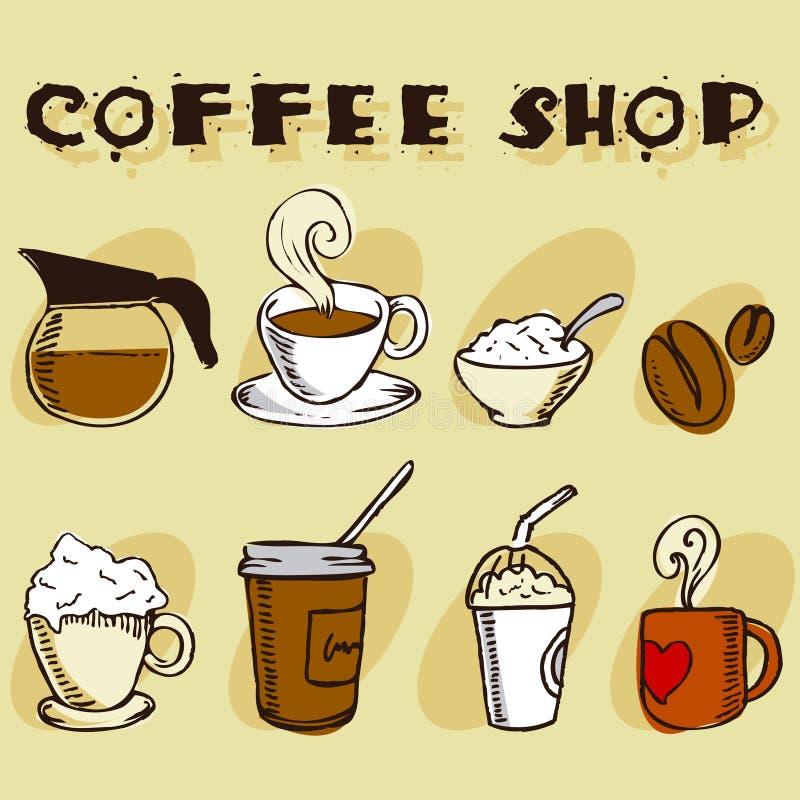 Kaffeeauslegungelemente stock abbildung