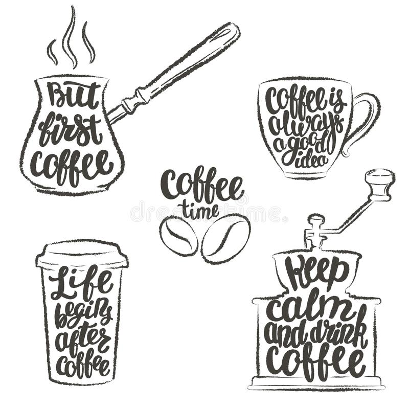 Kaffeebeschriftung in der Schale, Schleifer, Topfschmutzkonturen Moderne Kalligraphiezitate über Kaffee stock abbildung