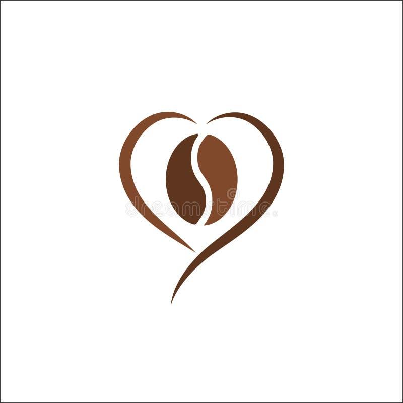 Kaffeebohne-Logozusammenfassungsdesignvektor-Illustrationsschablone lizenzfreie abbildung