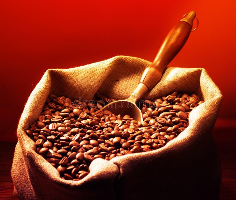 Kaffeebohnen auf Leinwand-Sack stockfotografie