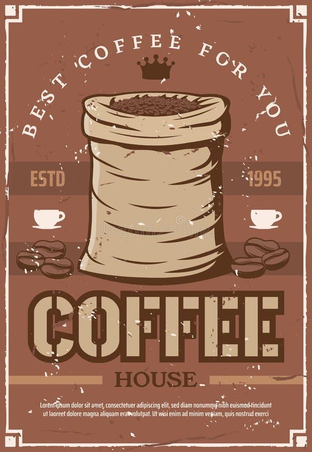 Kaffeebohnen auf Retro- Plakat für Cafeteria oder Café stock abbildung