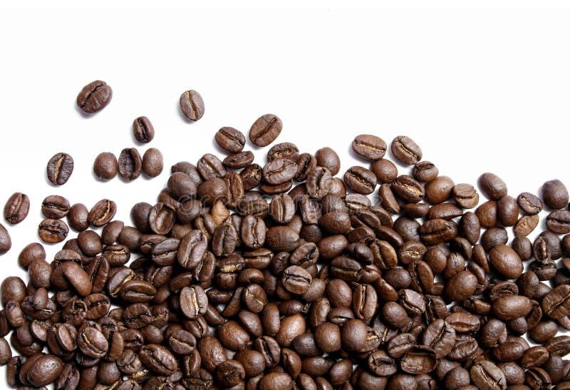 Kaffeebohnen auf Weiß lizenzfreies stockbild