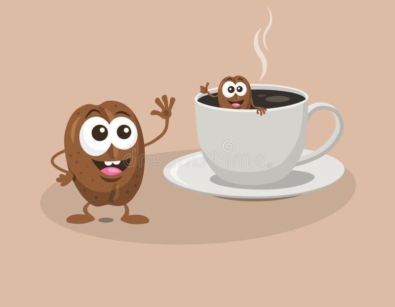 Kaffeebohnen baden in einem Tasse Kaffee vektor abbildung