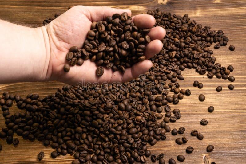 Kaffeebohnen in den H?nden auf h?lzernem Hintergrund lizenzfreie stockfotos