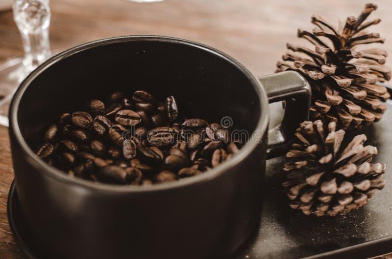 Kaffeebohnen der guten Qualität werden nicht in den Kaffeetassen zerquetscht 8 stockfoto