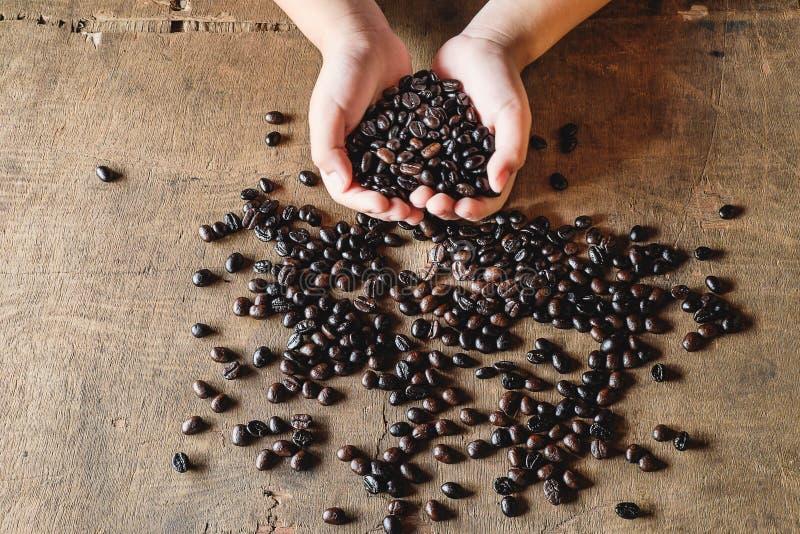 Kaffeebohnen in der Hand stockbild