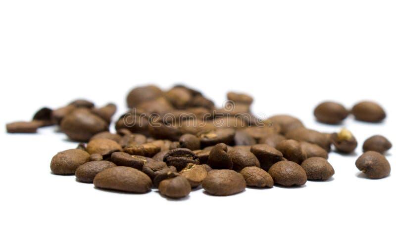 Kaffeebohnen getrennt auf Weiß lizenzfreie stockbilder