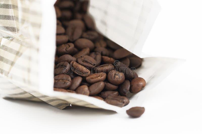 Kaffeebohnen getrennt auf wei?em Hintergrund Kopieren Sie Platz lizenzfreies stockfoto