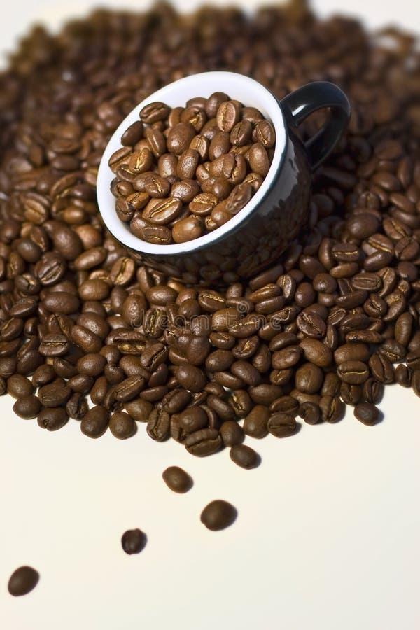 Kaffeebohnen im schwarzen Cup. Abschluss oben stockfotografie