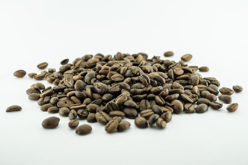 Kaffeebohnen lokalisiert auf weißem Hintergrundbereich für Kopienraum stockbild