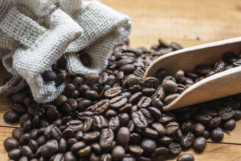Kaffeebohnen mit hölzerner Schaufel lizenzfreies stockbild